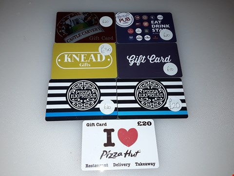Lot 4 7 ASSORTED RESTAURANT GIFT CARDS, INCLUDING PIZZA EXPRESS, PIZZA HUT, HUNGRY HORSE PUBS AND GREAT BRITISH PUBS.  TOTAL VALUE £140