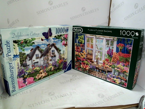 Lot 3013 4 ASSORTED JIGSAW PUZZLES TO INCLUDE; THE SECRET GARDEN GREG GIORDANO, DELPHINIUM COTTAGE, FLORA'S FLOWER SHOPPE STEVE CRISP AND DORA THE EXPLORER