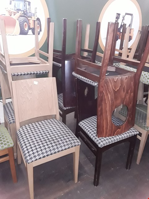 Lot 81 APPROXIMATELY 7 ASSORTED PATTERNED FABRIC WOODEN CHAIRS