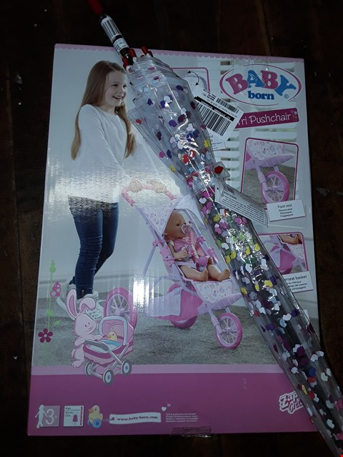 Lot 363 LOT OF 2 ITEMS TO INCLUDE LULU BIRDCAGE 2 CONFETTI LIPS UMBRELLA & BABY BORN TRI PUSHCHAIR RRP £42