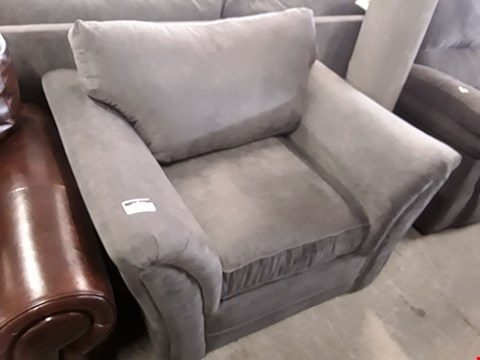 Lot 97 DESIGNER GREY FABRIC EASY CHAIR