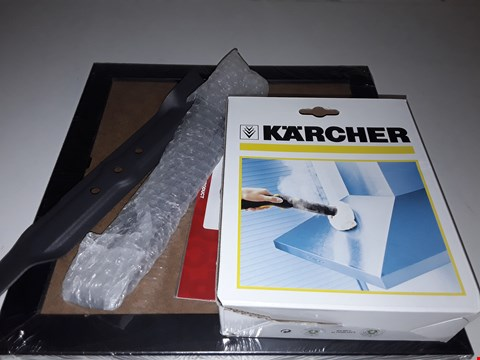 Lot 4072 APPROXIMATELY 4 ITEMS TO INCLUDE KARCHER ATTACHMENT, LAWN MOWER BLADES PITCHER FRAME