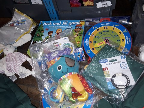 Lot 1077 A BOX OF APPROXIMATELY 10 ASSORTED TOYS TO INCLUDE,  JACK AND JILL GAME JUNGLE SQUEKER AND CAPTAIN CALAMARI TOY ETC BOX NOT INCLUDED