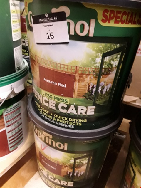 Lot 16 FOUR TUBS OF CUPRINOL AUTUMN RED FENCECARE 6 LITRES RRP £72