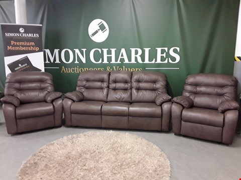 Lot 3014 QUALITY BRITISH MADE, HARDWOOD FRAMED DARK BROWN LEATHER 3 SEATER SOFA AND TWO ARMCHAIRS