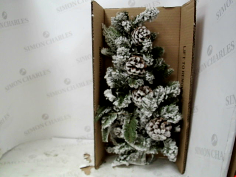 Lot 13067 FLOCKED TEARDROP SHAPE LIT WREATH RRP £19.99