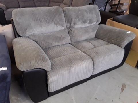 Lot 9 DESIGNER BLACK FAUX LEATHER AND GREY JUMBO CORD SIENNA MANUAL RECLINING 2 SEATER SOFA  RRP £849.00