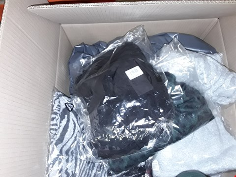 Lot 392 A BOX OF APPROXIMATELY 16 ASSORTED CLOTHING ITEMS TO INCLUDE,  STYLED ANIMAL COWL NECK POCKET TOP GREEN SIZE 5 , NICOLE BLACK DRESS MEDIUM ETC