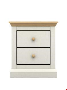 Lot 149 BOXED  HANNAH 2 DRAWER BEDSIDE 7N CREAM  RRP £99.00