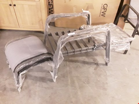 Lot 7310 PAIR METAL FRAMED PATIO ARMCHAIRS WITH FOOTSTOOLS ( NO CUSHIONS)