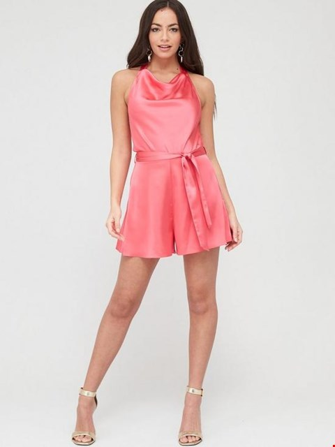Lot 3714 BRAND NEW RIVER ISLAND COWL NECK SATIN PLAYSUIT - PINK SIZE 16