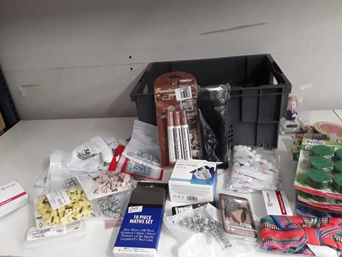 Lot 160 BOX OF APPROXIMATELY 50 ASSORTED ITEMS TO INCLUDE CHARGERS, STATIONERY ETC
