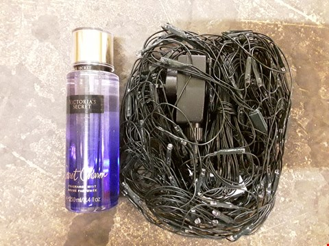 Lot 122 LOT OF 2 ITEMS TO INCLUDE VICTORIA'S SECRET SECRET CHARM FRAGRANCE MIST 250ML AND 160 WHITE LED NET LIGHTS  RRP £58.99