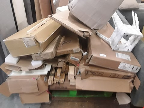 Lot 81 PALLET OF ASSORTED FLAT PACK FURNITURE PARTS TO INCLUDE BED PARTS, WARDROBE  PARTS ETC