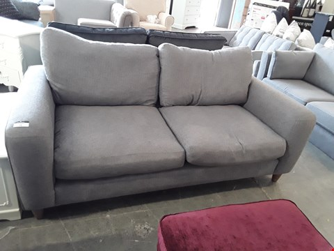 Lot 74 QUALITY BRITISH DESIGNER STEEL GREY FABRIC BRADWELL 3 SEATER SOFA