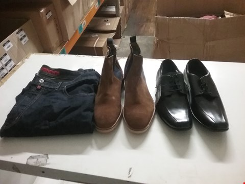 Lot 1329 LOT OF 4 BOXES CONTAINING APPROXIMATLEY 56 ASSORTED CLOTHING ITEMS TO INCLUDE REAL SUEDE BROWN CHELSEA BOOTS, BLACK POD SMART SHOES AND PIERRE CARDIN JEANS