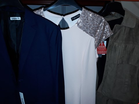 Lot 3 BOX OF APPROXIMATELY 17 ASSORTED ITEMS TO INCLUDE SEQUIN BACK DRESS, SOUTH FRINGE JACKET, LADYBIRD NAVY SUIT JACKET