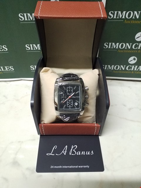Lot 4584 L. A BANUS BLACK RECTANGULAR DIAL STAINLESS STEEL CHRONOGRAPH WATCH WITH BLACK LEATHER WRIST STRAP