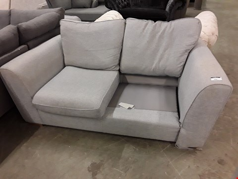 Lot 7032 QUALITY BRITISH DESIGNER GREY FABRIC TWO SEATER SOFA