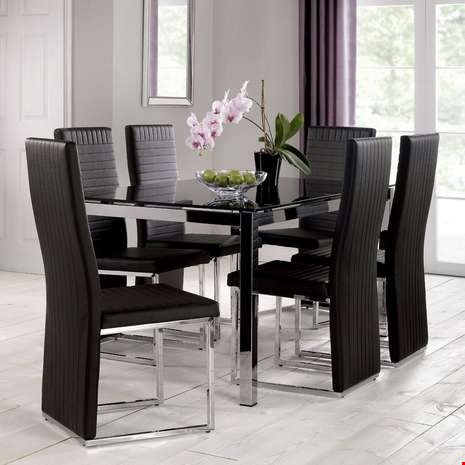 Lot 7041 DESIGNER BOXED TEMPO BLACK AND GLASS DINING TABLE (2 BOXES)