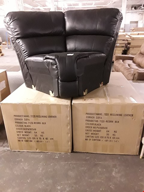 Lot 147 BLACK FAUX LEATHER RECLINING CORNER SOFA - 2 BOXED AND 1 LOOSE SECTIONS