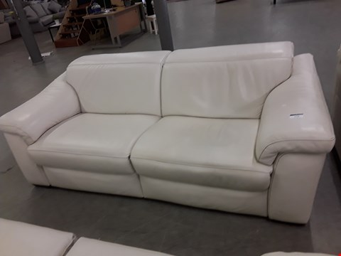 Lot 44 DESIGNER SENSOR QUALITY GRADED WHITE ITALIAN LEATHER RECLINING 3 SEATER SOFA WITH ADJUSTABLE HEADRESTS AND CONTRAST DETAIL STITCHING
