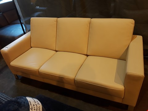 Lot 1003 DESIGNER KLER CREAM LEATHER FIXED THREE SEATER SOFA