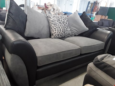 Lot 82 DESIGNER BLACK FAUX LEATHER AND GREY FABRIC 3 SEATER SOFA WITH SCATTER BACK CUSHIONS