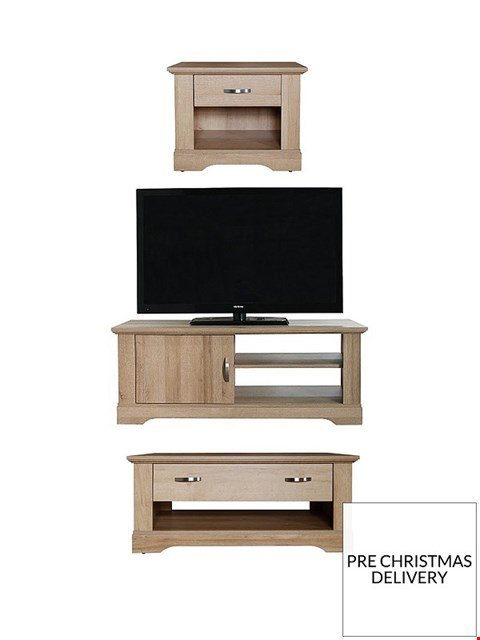 Lot 2005 BOXED GRADE 1 CORNWALL OAK 3 PIECE LOUNGE PACKAGE  -  TV UNIT, COFFEE TABLE & LAMP TABLE