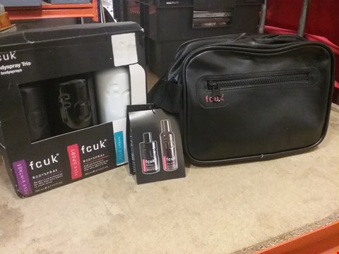 Lot 7054 LOT OF 2 ITEMS TO INCLUDE FCUK WASH BAG KIT AND FCUK BODYSPRAY TRIO