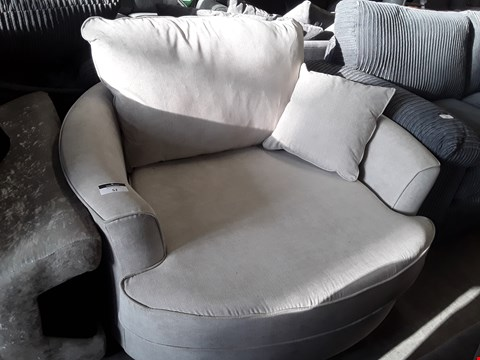 Lot 52 DESIGNER NATURAL FABRIC SWIVEL SNUGGLE CHAIR