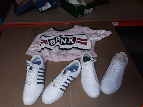 Lot 9411 4 BOXES OF APPROXIMATELY 42 ASSORTED CLOTHING AND FOOTWEAR ITEMS INCLUDING PINK T-SHIRT,  LACOSTE WHITE STRAIGHT SET SHOES AND K-SWISS WHITE/BLUE ARVEE SHOES