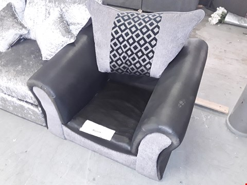 Lot 213 DESIGNER GREY FABRIC AND BLACK FAUX LEATHER CHAIR