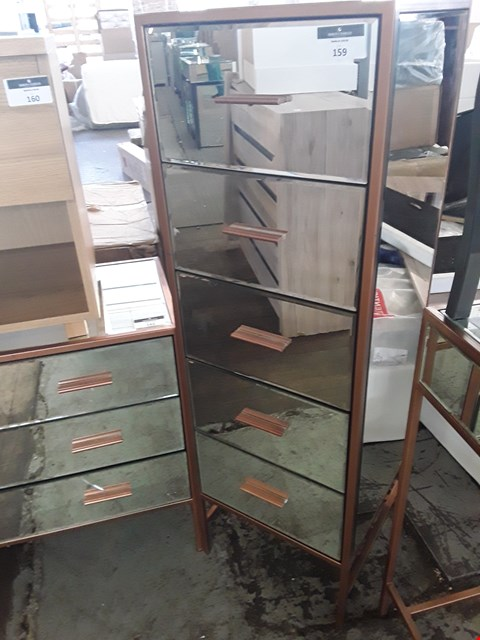 Lot 159 DESIGNER ROSE GOLD TONE AND MIRROR 5 DRAWER CHEST