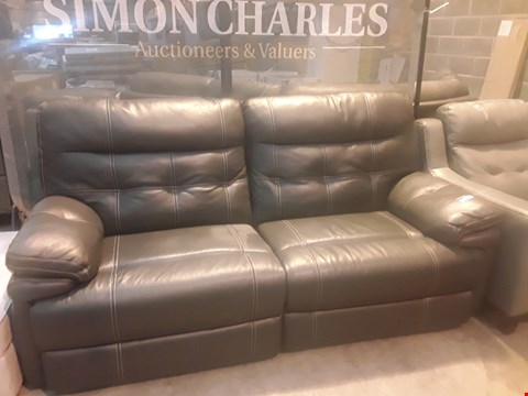 Lot 9146 DESIGNER CORSICA NAVY GREY LEATHER POWER RECLINING THREE SEATER SOFA WITH CONTRAST STITCHING