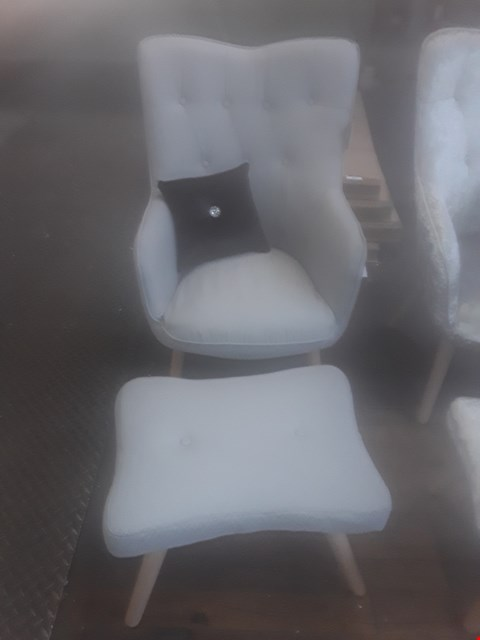 Lot 55 LONGDON FABRIC ARMCHAIR AND FOOTSTOOL LIGHT GREY  RRP £349
