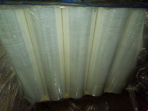Lot 10021 PALLET OF ASSORTED ITEMS TO INCLUDE LARGE CLEAR ROLL OF CELLOPHANE, SPOOL OF VELCRO LOOPS AND ROLL OF DOUBLE SIDED STICKY TAPE