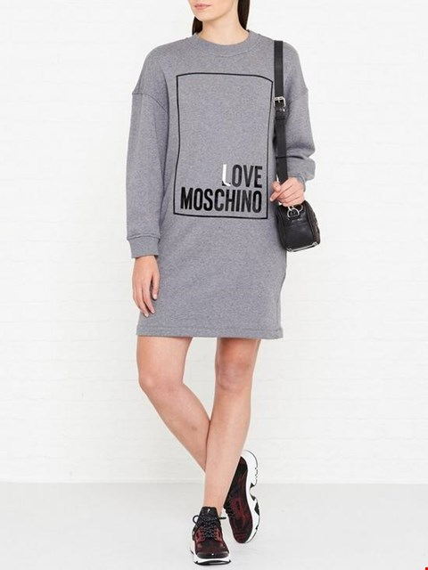 Lot 7124 LOVE MOSCHINO OVERSIZED BOX LOGO GREY SWEATSHIRT DRESS - SIZE 8 UK