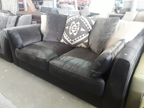 Lot 76 DESIGNER BLACK LEATHER & SUEDE TWO SEATER SOFA WITH SCATTER CUSHIONS