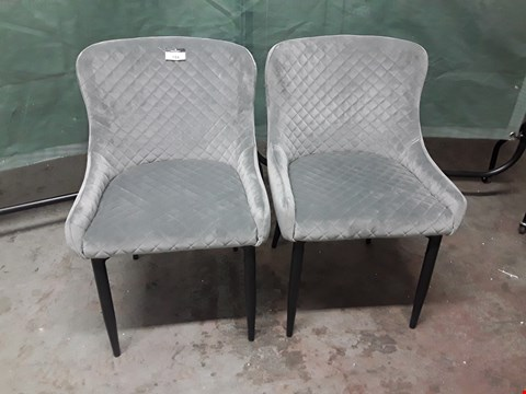 Lot 184 PAIR OF DESIGNER QUILTED GREY VELVET DINING CHAIRS