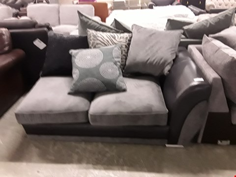 Lot 354 DESIGNER BLACK FAUX LEATHER AND GREY FABRIC SOFA SECTION WITH SCATTER BACK CUSHIONS