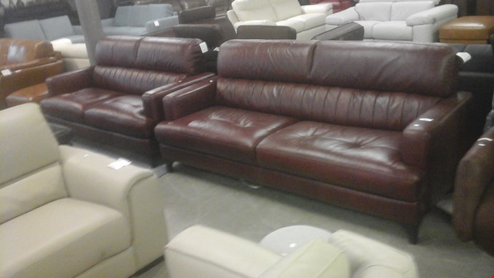 QUALITY GRADED ITALIAN RED LEATHER 3 SEATER SOFA AND 2 SEATER SOFA