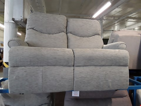 Lot 1020 QUALITY BRITISH MADE, HARDWOOD FRAMED PALE GREEN FABRIC 2 SEATER SOFA AND POWER RECLINING ARMCHAIR