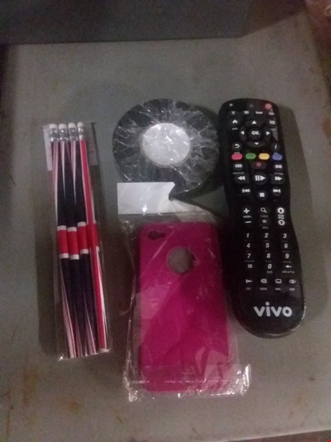 Lot 8259 A BOX OF ASSORTED ITEMS TO INCLUDE PHONE CASES, PVC TAPE, UNIONJACK PENCILS AND A VIVO TV REMOTE