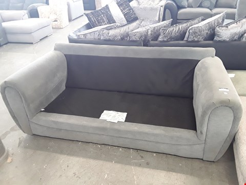 Lot 139 DESIGNER GREY/GREEN FABRIC 3 SEATER SOFA