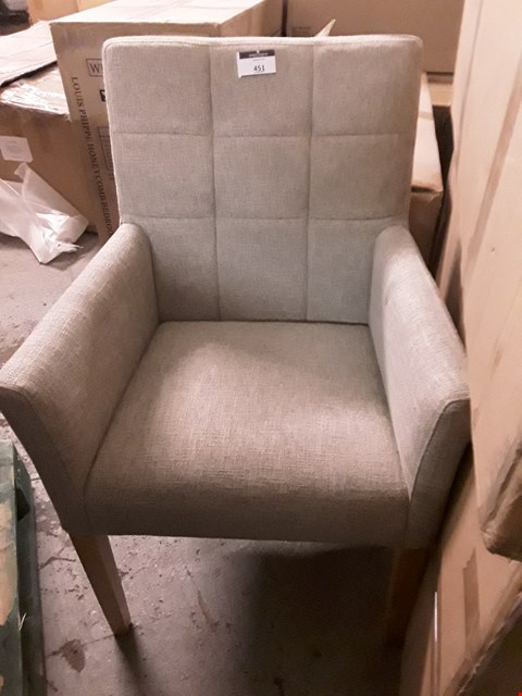Lot 451 DESIGNER NATURAL FABRIC UPHOLSTERED ARMCHAIR