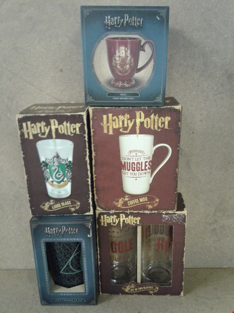 Lot 469 5 BRAND NEW BOXED HARRY POTTER ITEMS TOO INCLUDE A SET OF 2 GLASSES ,  2 MUGS LARGE GLASS AND COLD CHANGE GLASS