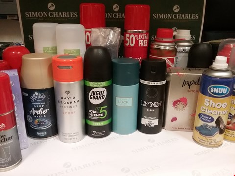 Lot 109 BOX OF APPROX X25 ASSORTED AEROSOLS INCLUDING LYNX, GLADE & SHUU