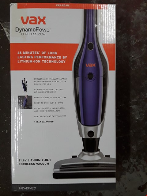 Lot 329 VAX H85-DP-B21 DYNAMO POWER 2-IN-1 21.6V CORDLESS VACUUM CLEANER