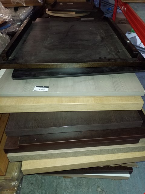 Lot 10220 PALLET OF ASSORTED TABLE TOPS IN VARIOUS SIZES AND DESIGNS